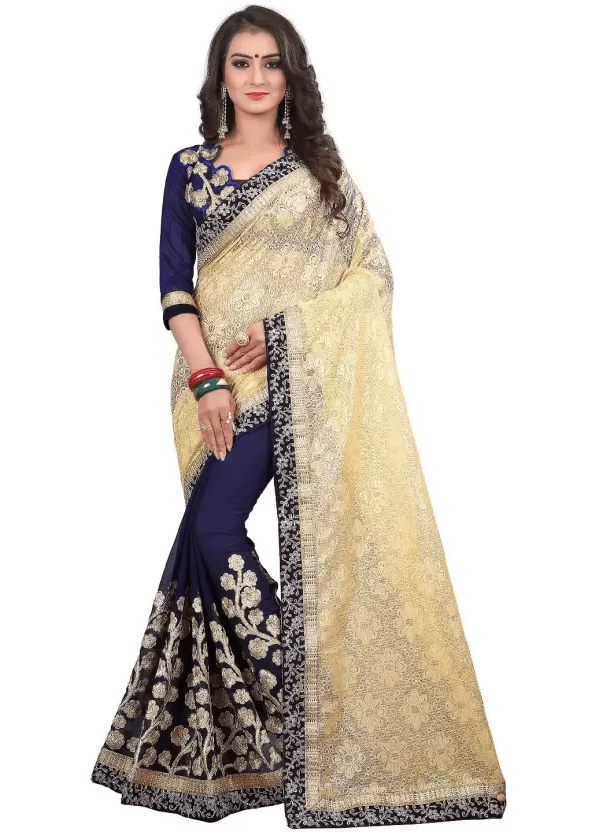 Geometric Print, Self Design, Embroidered Paithani Brasso, Georgette, Banarasi Silk, Heavy Georgette Saree