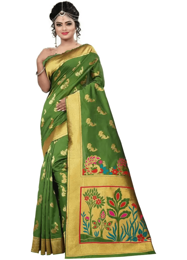 jay fashion Embroidered Paithani Silk, Banarasi Silk