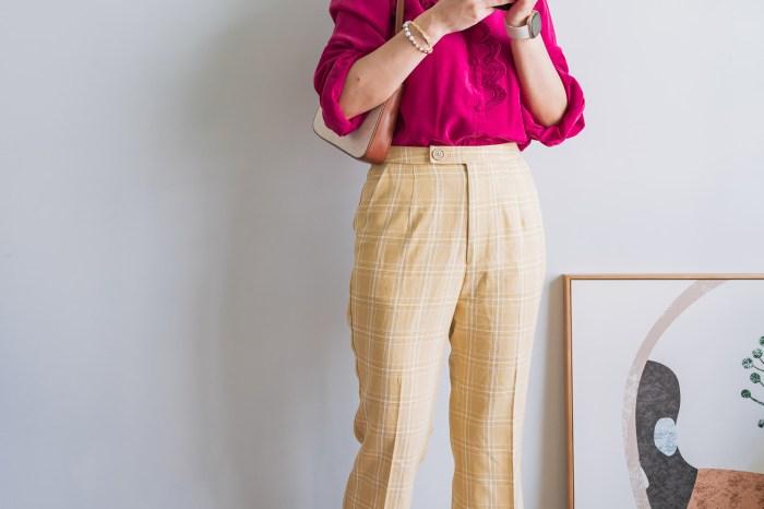 Loobook ∎ 秋天の濃郁色調,桃紅色Sezane Chloé Shirt 絲質襯衫穿搭