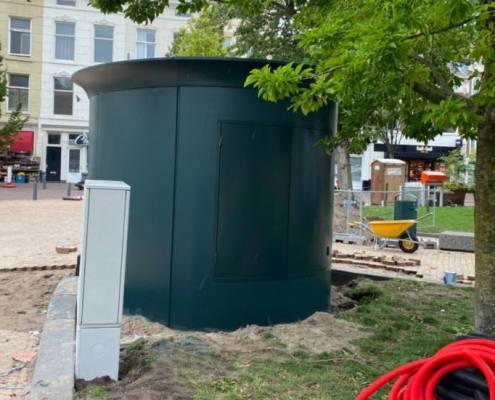 cantiere in Olanda toilette automatizzata
