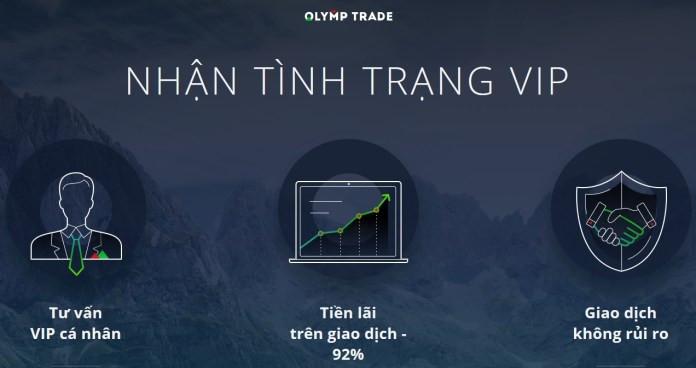 Những ưu đãi tài khoản VIP của sàn giao dịch Olymp Trade