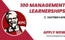 100 KFC Management Learnerships 2021 is Open