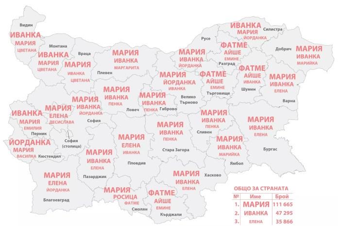 Разпределение на имената по области жени