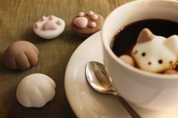 Marshmallows shaped like cat paws