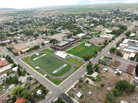 Aerial photo of Ephraim, with Snow College in forefront, show a growing community, whose population continues to increase, along with an impressive tax base.