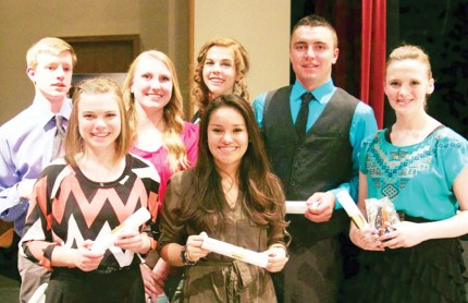 North Sanpete High School's Sterling Scholar competitors won top spot in more categories than any other school in the county during the Central Utah Region Sterling Scholar Awards (back row, L-R): Abinadi Swapp, winner in Computer and Information Technology; Natalee Walker, winner in English and Literature; Hannah Talbot, runner up in Speech and Drama; Landon Beebe, runner up in Trade and Technical Education; Larissa Beck, winner in Dance; (front row) Jessica Farnsworth, runner up in music; and Gaby Reyes, runner up in World Languages.