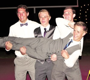 Young men at GVHS are dressed to impress as they clown around at the Homecoming dance. Left to right are juniors Hyrum Leatherwood, Issaish O'neil, Alex Holder and Timothy Stewart. - Photo courtesy Halle Rolfe