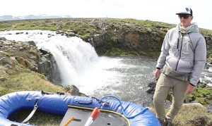 Phil Tuttle, while fishing in Iceland, tests a prototype of a Mt. Pleasant-based Fortress Clothing's new product line, the Hybrid Hoodie, which was launched using funding raised entirely from crowd-funding campaigns.