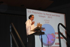 Dr. Armando Solorzano discussed the history of Latinos in Utah, a minority population shift in the nation and in Utah