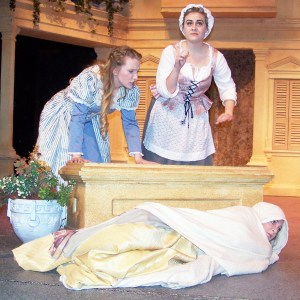 Hero and Ursula are discussing Beatrice, not knowing she is hiding in a rug at their very feet. - Lloyd Call / Messenger photo