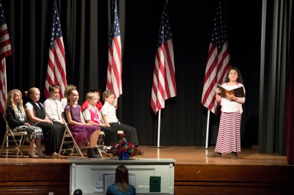 Students from Fountain Green Elementary recited the constitutional amendments during a short rendition of how the constitution was instituted at the 2016 annual Fountain Green Lions club veterans Day program.