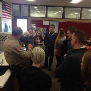 Sergeant Matt Briggs of the Utah Department of Wildlife Resources paid North Sanpete High School zoology teacher Brad Bentley's class a visit in December after he found a sick Bald Eagle in Fountain Green. Bently said Briggs had visited the class a week before and told students that if he ever found an injured or sick hawk or eagle, he would bring it into the class. Briggs told students this eagle had probably fell ill due to lead poisoning from lead shot that got picked up from a fish or rabbit. - Daniela Vazquez / Messenger photo