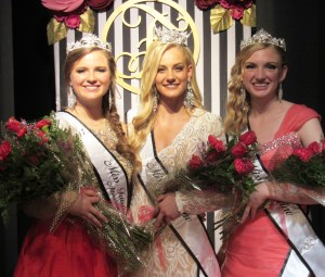 """FAIRVIEW—On a night dedicated to bringing out the """"Masterpiece"""" in all the contestants, Kelsie Nielson was crowned Miss Fairview last Saturday night. The Miss Fairview Pageant, which was themed """"Masterpiece,"""" was held at the packed Peterson Dance Hall in Fairview.   The pageant was emceed by Shayne Thompson and outgoing Miss Fairview, Lydia Madsen.    The entertainment was headlined by local duo Skyline Drive, featuring brothers Ross and Luc Christensen, who announced that this summer they would be traveling to Nashville to compete in a national talent contest. Nielson, who performed a cheer/tumbling routine to """"A Big Hunk O' Love"""" by Elvis Presley, is a junior at North Sanpete High School and the daughter of Mike and Debbie Nielson.   Her platform for her year as Miss Fairview will be """"H2O, let's go: the importance of staying hydrated."""" Joining Nielson as in the royalty as first attendant will be Ireland Rawlinson.  Rawlinson is the daughter of Sean and Shauna Rawlinson.  She showed a presentation of her art work as her talent performance and was named Most Photogenic and Miss Congeniality. Nicole Day was named second attendant.   Day is the daughter of Allen and Andrea Day and performed a piano solo, """"Spanish Dance,"""" by Anton Bilotti. - James Tilson / Messenger photo"""