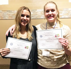 Angie Petty (left) and Makena Lenhart (right), Snow College music students, won first place honors awards at the National Association of Teachers of Singing competition.