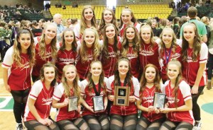 The Manti High Temparettes with their third place trophy.