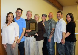 """The John Keeler family of Manti celebrate after Keeler receives an award """"for distinguished leadership and service"""" from the Sanpete County Farm Bureau. From left are Keeler children: daughter-in-law Mandy; son Alex; John and Diane Keeler; daughter Jessica and son-in-law Mike Warren; son Jeremy and daughter-in-law Rose Keeler. Not available for picture: son Chris and daughter Leila Keeler."""