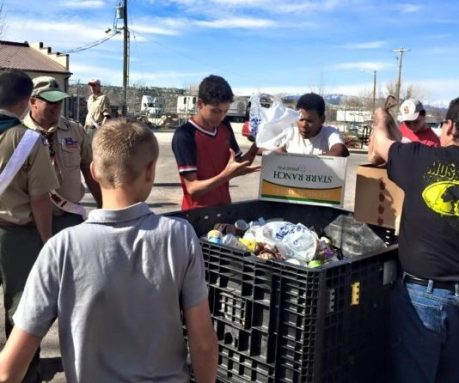 Local Boy Scouts sort food donations during last year's Scouting for Food drive. Photo courtesy of BSA