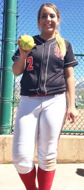 North Sanpete varsity softball player Mariah Hafen holds up her homerun ball from the Payson Softball Tournament last weekend.