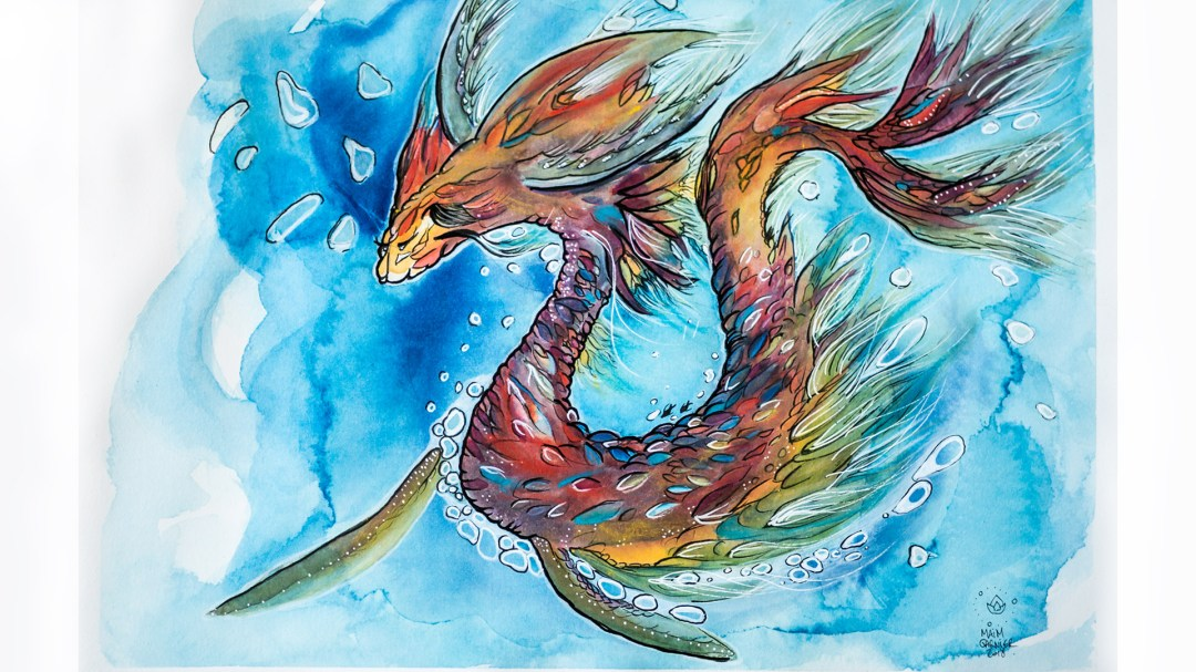 Sea Dragon by Maïm Garnier, art with ink, watercolour and pastel, created during Inktober 2018. #inktober #inktober2018 #drawingchallenge #characterdesign #illustrationartists #sketches #jakeparker #watercolourartist #illustrationcharacterdesign #illustrationart #artinspiration #MaimGarnier #seadragon #dragondrawing #dragonart #fantasyart