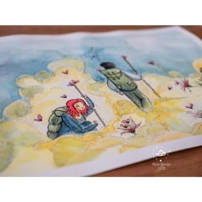 Light path, illustration and painting by Maïm Garnier. Ink, watercolour, pastel and posca. Inktober 2018. somewhere on a dry poetic land. #inktober #inktober2018 #characterdesign #illustrationartists #watercolourartist #illustrationcharacterdesign #illustrationart #artinspiration #MaimGarnier #creativeprocess #inktoberart #light #path #fantasyart #butterfly #flowers
