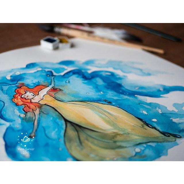 Eva, Undulation, Tranquil for Inktober 2018, illustration and painting by Maïm Garnier, art with ink and watercolour. Ondulation par Maïm Garnier, inktober 2018, tranquille. #inktober #inktober2018 #drawingchallenge #characterdesign #illustrationartists #sketches #jakeparker #watercolourartist #illustrationcharacterdesign #illustrationart #artinspiration #MaimGarnier #sealover #swimmingtime #creativeprocess #tranquil #inktoberart