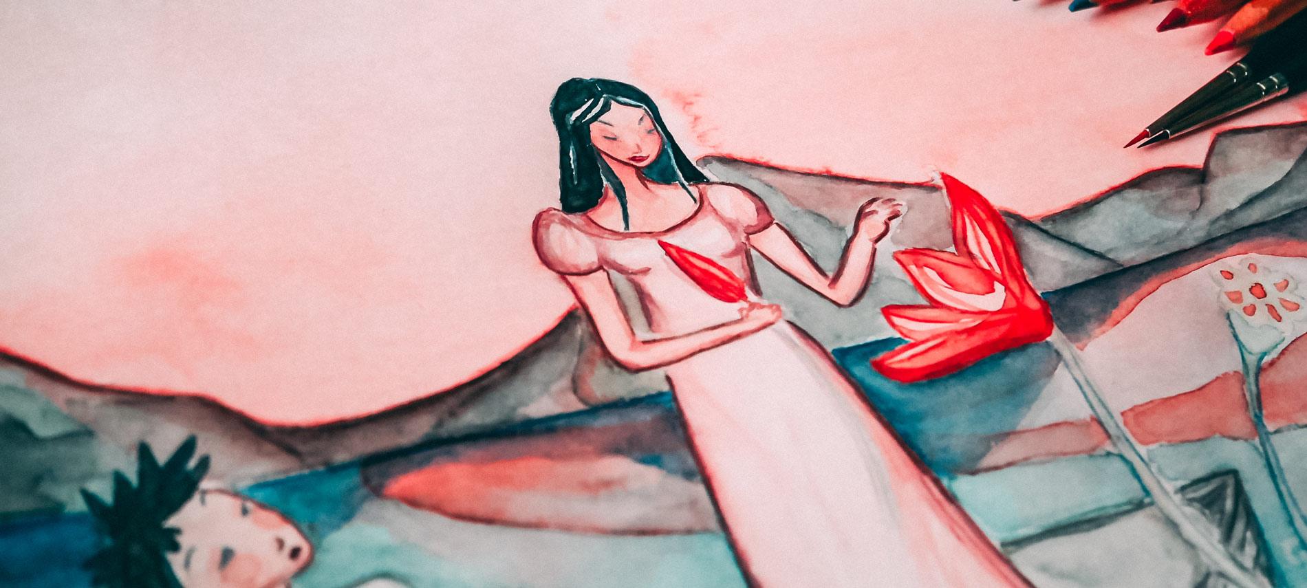 Le lac aux lotus, Illustration Maïm Garnier. Davantage à découvrir sur Sansible. #sansible #MaimGarnier #aquarelle, #illustration #lotus