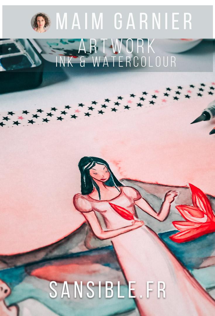 Lotus lake, art by Maïm Garnier. Ink, watercolour, pastel. Asian inspiration. Sunset. #artwork #inked #watercolour #sketchbook #creativeprocess #watercolorartist #artist_sharing #illustrationartist #illustrationwork #characterdesign #watercolor_galery #lotusdrawing #lotuspainting #peacefullness #artinspiration