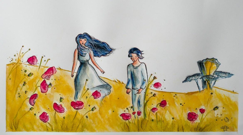 Le Jour des coquelicots, illustration de Maïm Garnier. Encre, aquarelle, pastel. Vibrations estivales. Regardez ma vidéo sur ma chaîne YouTube. #inktober #inktober2018 #dessin #illustration #jakeparker # aquarelliste #artinspiration #MaimGarnier #été #coquelicot #processuscreatif