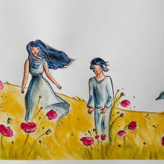 Poppies'day, art by Maïm Garnier. Ink, watercolour, pastel. Summer vibes. Watch my video on ma YouTube channel. #inktober #inktober2018 #drawingchallenge #characterdesign #illustrationartists #sketches #jakeparker #watercolourartist #illustrationcharacterdesign #illustrationart #artinspiration #MaimGarnier #summerart #poppies #creativeprocess #summer #inktoberart