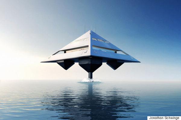 Le Tetraedron, yacht imaginé par le designer Jonathan Schwinge. Davantage de bateaux du futur à découvrir sur Sansible. #sansible #bateau #futur #yatch #catamaran #startrek