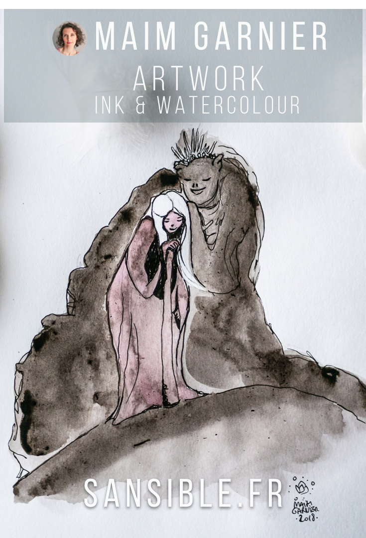 The Whisper and the girl, illustration by Maïm Garnier. Mixed media art, ink, watercolours. #inktober #inktober2018 #characterdesign #illustrationartists #watercolourartist #illustrationcharacterdesign #illustrationart #artinspiration #MaimGarnier #creativeprocess #inktoberart #creature #woman #care #monster #fantasyart #fantasyillustration