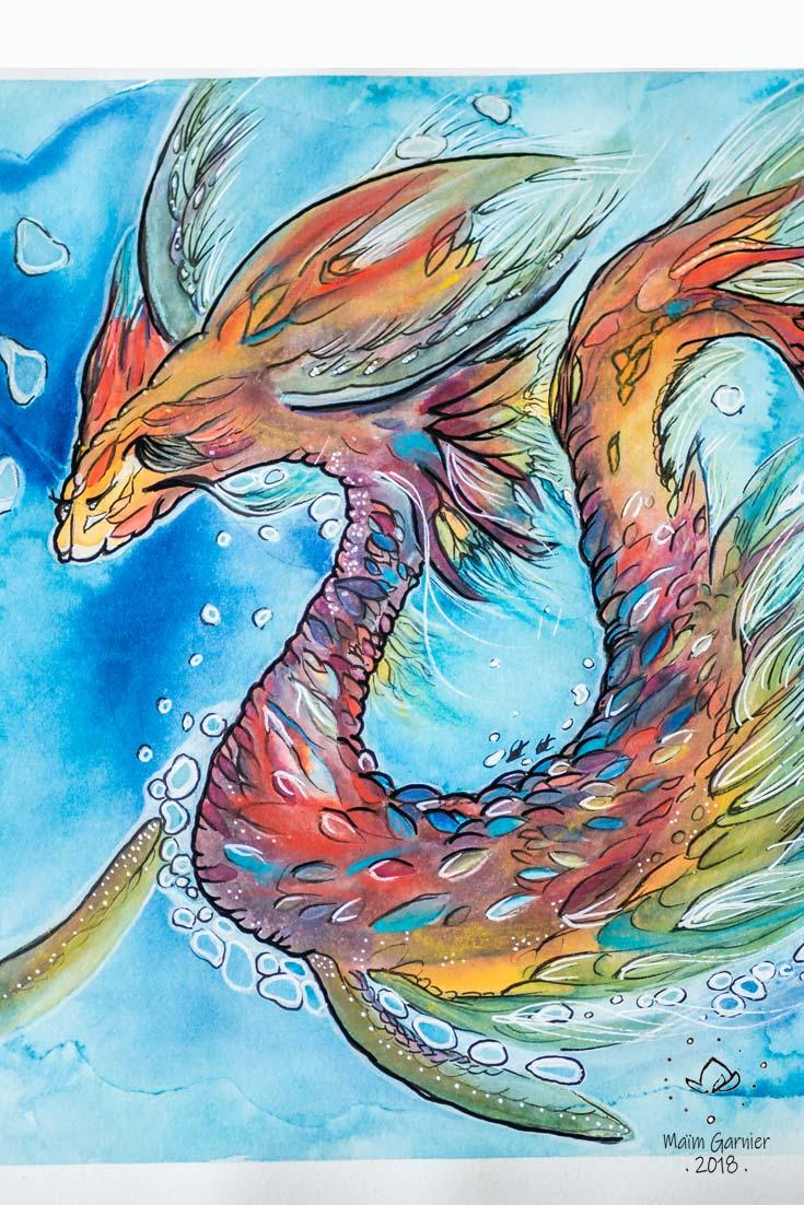 Dragon des mers, Chants de l'eau, illustration imaginée par Maïm Garnier. Aquarelle, encre, pastels, posca. Inktober 2018. Dragon marin nageant dans les océans avec fluidité. Davantage de créations à découvrir sur Sansible. #sansible #MaimGarnier #aquarelliste #mixedmedia #inktober #inktober2018 #fluide #mer creature #aquatique #dessin #artinspiration #illustrationart #creation