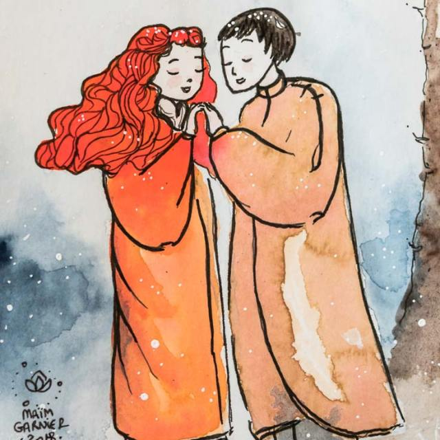 Chloe and Ethen, A romantic encounter under the snow, one winter evening, Winter Songs, illustration and painting created by Maïm Garnier. Watercolour, ink, posca. 2018. More creations to discover on Sansible. #sansible #MaimGarnier #watercolorartist #mixedmedia #ink #love #lovers #winter #snow #precieous #drawing #artinspiration #illustrationart #creation