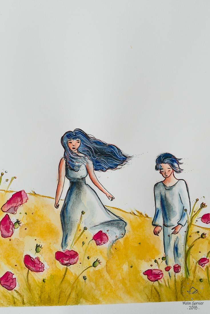 Le Jour des Coquelicots, Chants d'été, Chants d'ailleurs. Création originale de Maïm Garnier, 2018. Voyage de deux jeunes gens dans un paysage recouvert de coquelicots fleuris. Aquarelle, encre, pastels. Davantage d'illustrations et peintures à découvrir sur Sansible #sansible #MaimGarnier #aquarelliste #mixedmedia #paysage #ete #vegetal #fleurs #coquelicot