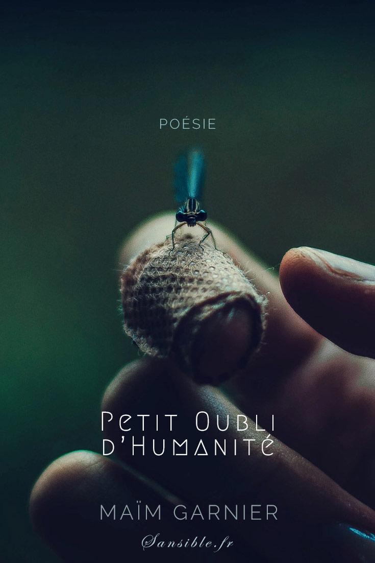 Petit oubli d'humanité, poème engagé de Maïm Garnier. La poésie est un cri silencieux à votre intime conscience. A découvrir sur Sansible. #poesieengagee #litterature #poésie #litteratureengagee #MaimGarnier #sansible #societe #espoir #humanisme