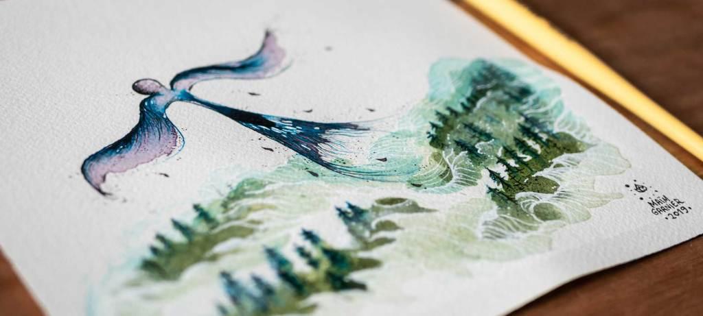 Ink watercolour by Maïm Garnier, Esperia series, illustration Flight away, based on a story by Dominique Poulain #Nimentrix #art #watercolorartist #aquarellist #inktober2019 #MaimGarnier #Esperia