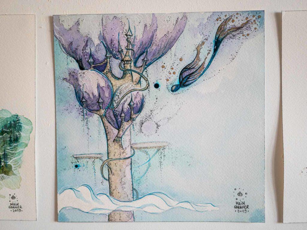 La Tour d'Esperia, série Esperia, encre et aquarelle par Maïm Garnier, illustration d'une histoire de Dominique Poulain Nimentrix #MaimGarnier #Esperia #art #aquarelle #illustration #watercolorart #watercolorartist #tour #fantasyart #magical