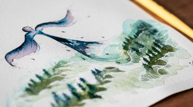 Aquarelle à l'encre par Maïm Garnier, série Esperia, illustration L'envolée, d'après une histoire de Dominique Poulain #Nimentrix #art #watercolorartist #aquarellist #inktober2019 #MaimGarnier #Esperia