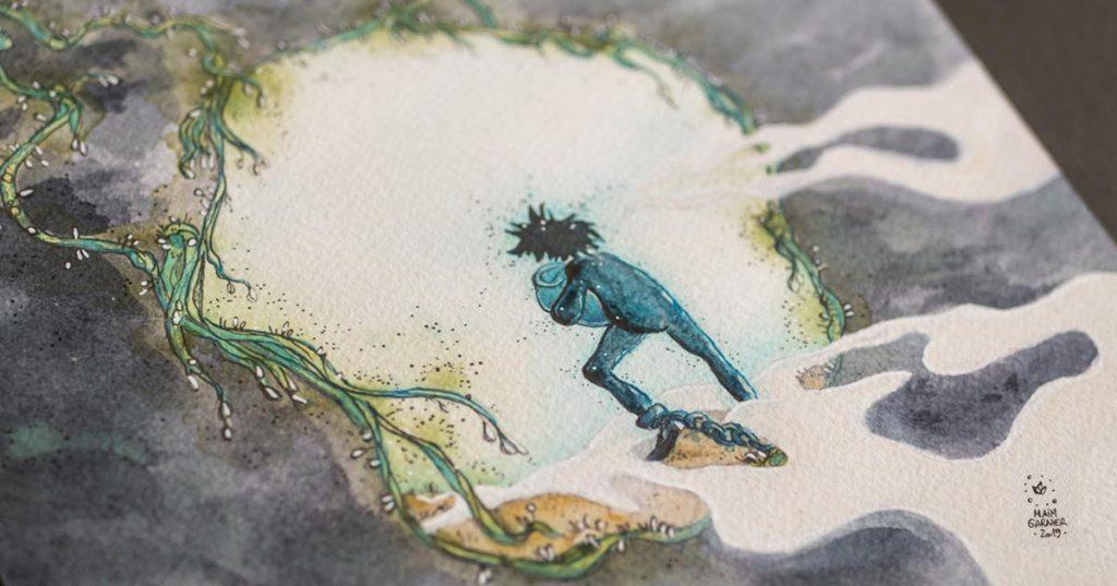 The prisoner, Esperia Project, ink and watercolours art piece by Maïm Garnier, illustration inspired by a Dominique Poulain Nimentrix' tale. #MaimGarnier #Esperia #art #watercolours #illustration #watercolorart #watercolorartist #underground #prisoner