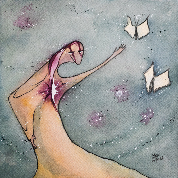 Cherish Books, ink and watercolor painting Maïm Garnier, 2020.