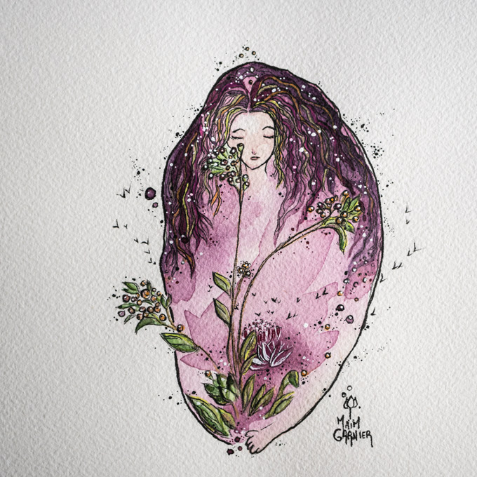 Woman, ink and watercolor painting Maïm Garnier, 2020.