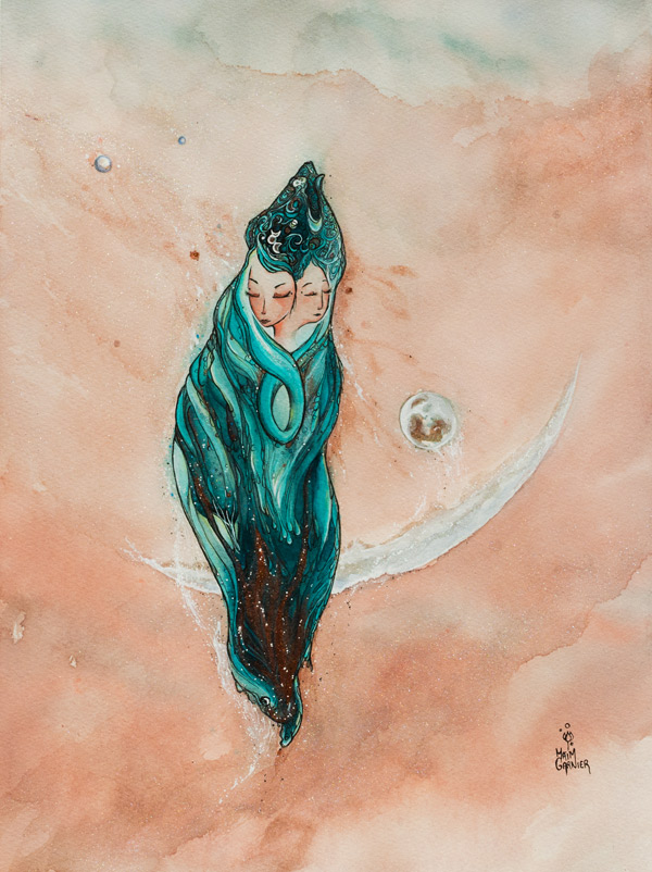 Multiplicity, ink and watercolor painting Maïm Garnier, 2020
