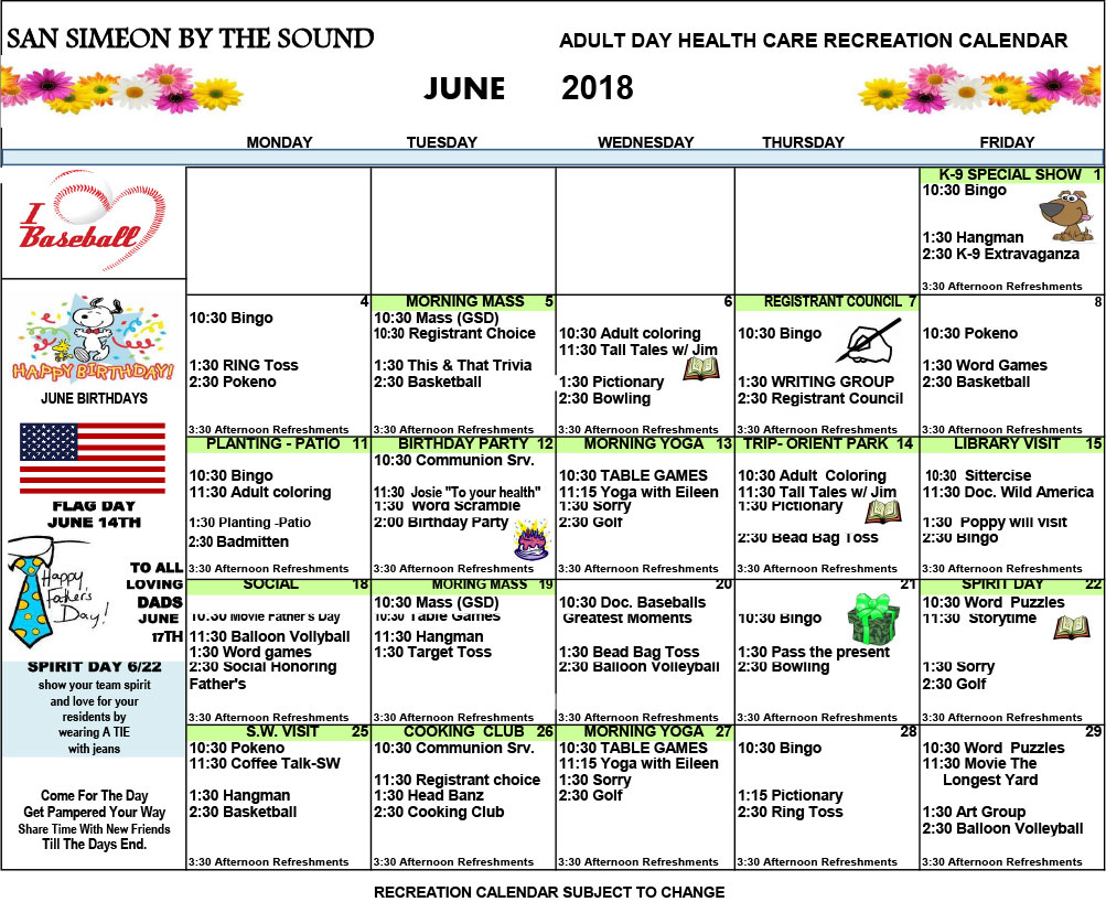June Adult Day Care Calendar of Events