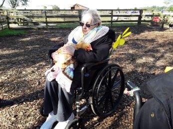 cuddly chicken at Walk to End Alzheimer's
