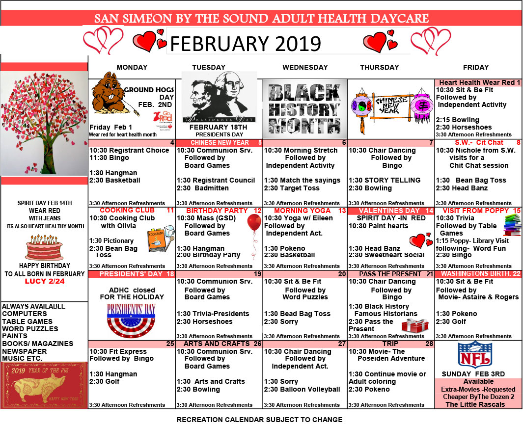 February Adult Day Care Calendar of Events
