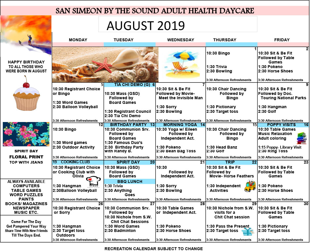 August Adult Day Care Calendar of Events