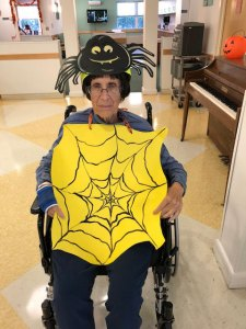 Resident dressed as a spider for Halloween