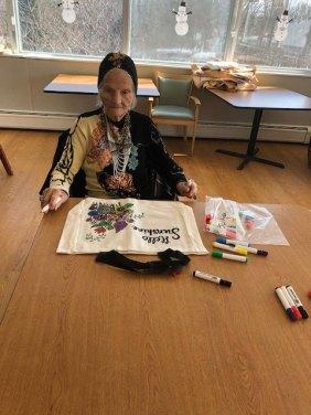 female San Simeon resident coloring tote bag