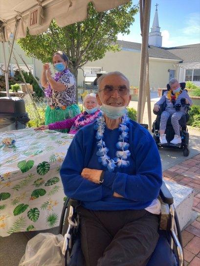 male San Simeon resident enjoying a luau