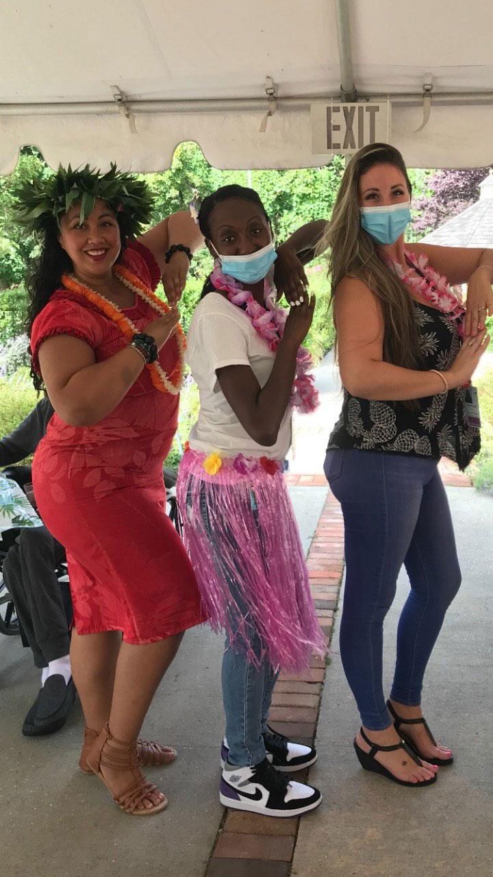 San Simeon staff having a luau